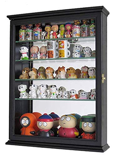 Small Wall Mountable Curio Cabinet Shadow Box, with Glass Door, Mirrored Back, CD06 (Black)