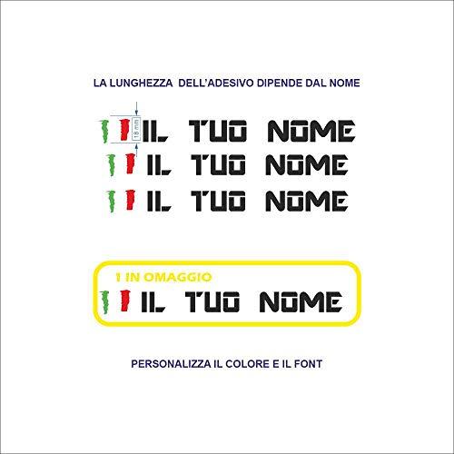 Set Adesivi Bandiera Nome Tagliati Singolarmente Stickers Compatibili Kit Decalcomanie Personalizza Colore 3 Pezzi più Uno Omaggio