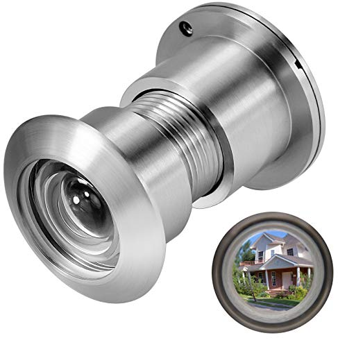 """YINGJI Door Viewer Peephole, Solid Brass 220-degree Door Viewer with Heavy Duty Rotating Privacy Cover for 1-3/8"""" to 2-1/6"""" Doors for Home Office Hotel (Satin Nickel)"""