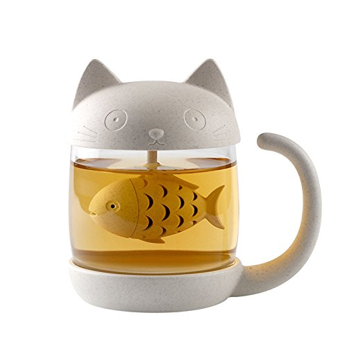 Digoon 10 oz Cute Cat Glass Cup Tea Mug With Fish Tea Infuser Strainer Filter