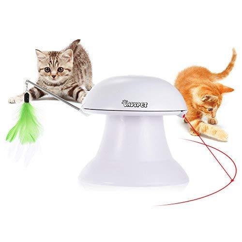 DADYPET Giochi per Gatti, Giocattolo Elettronico Automatico, Giocattolo Interattivo Gatti 2 in 1 con Piuma e Punto Luce Rosso - USB Ricaricabile (Cavo Incluso)