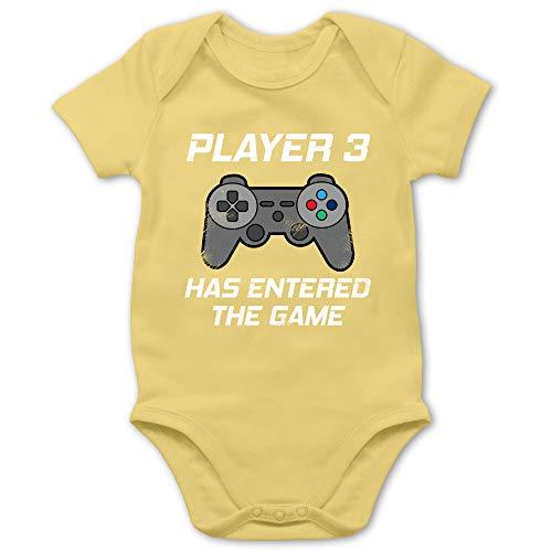 Zur Geburt - Player 3 Has Entered The Game Controller grau - 1/3 Monate - Hellgelb - Papa Baby Partnerlook - BZ10 - Baby Body Kurzarm für Jungen und Mädchen