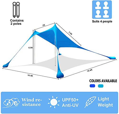 AMMSUN Beach Tent with sandbag Anchors, Portable Canopy Sun Shelter,7 X 7ft -Lightweight, 100% Lycra SunShelter with UV Protection. Sunshade for Family at The Beach, Camping & Outdoor (Blue)