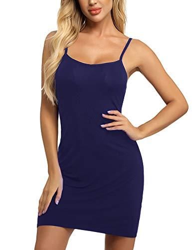 Women Full Slip for Under Dress Spaghetti Strap Cami Slip Mini Dress Navy Blue