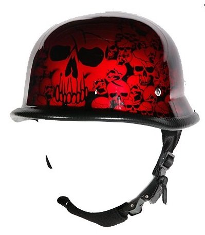 Billys Biker Gear Burgundy Skull Graveyard German Novelty Motorcycle Helmet (L, Burgundy Skulls)