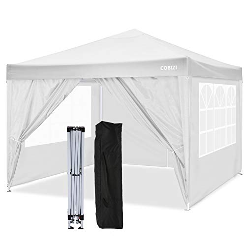 COBIZI 3x3 Pop up Gazebo Tent Commercial Instant Shelter, Fully Waterproof, Premium Pop up Gazebo With 4 Side Walls for Outdoor Wedding Garden Party (White)