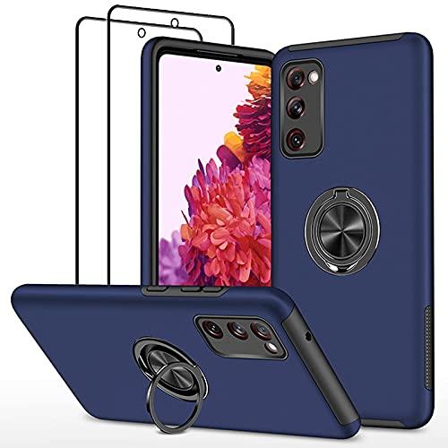 SmaCase Funda Compatible con Samsung Galaxy S20FE Carcasa +2 Piezas Protector de Pantalla 360 Grados Anillo Giratorio para Soporte - Bleu...