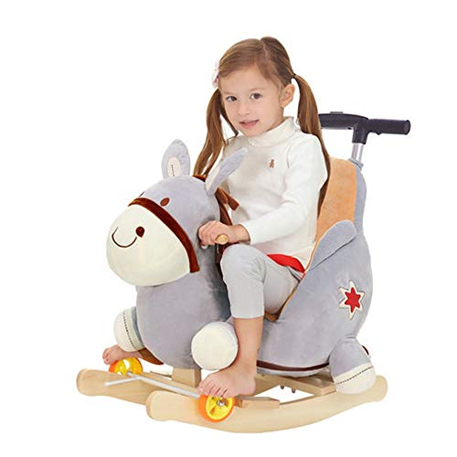 HYY Baby rocking horse, wooden rocking horse, children's rocking chair with wheels, suitable for 1 year old baby, rocking horse toy with rocker for infants and young children, gray (Color : Gray)