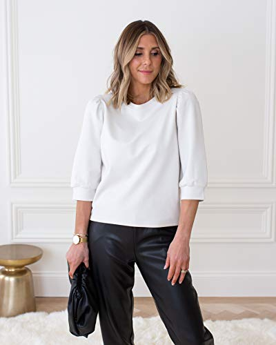 The Drop Women's Whisper White Puff-Sleeve Knit Top by @cellajaneblog