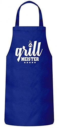 ShirtStreet Grillen Grill Garten Party Frauen Herren Barbecue Baumwoll Grillschürze Kochschürze Flamme - Grillmeister, Größe: OneSize,Royal Blau
