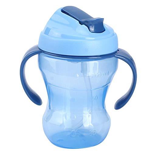 260ML Bambino Biberon Sippy Cup con Cannucce Portatile Bottiglia D'acqua Sicuro Bottiglie di Acqua Latte Succo Frutta Latte in Polvere Coppe Stoccaggio Accessori per Ragazze Ragazzi(Blu)