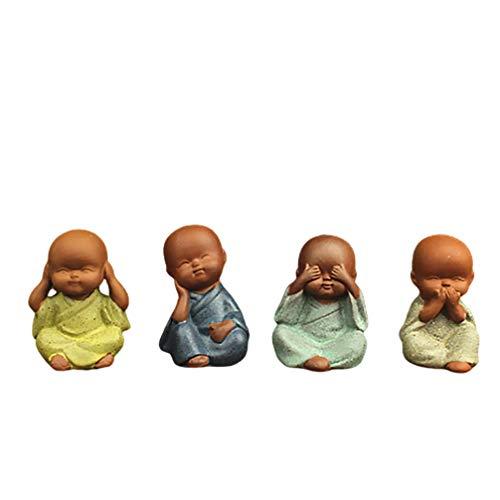 EXCEART 4 Stück Kleine Mönch Figuren Buddha Statue Mikrolandschaft Puppen Weise Mönche Tee Haustiere Tischplatte Display Skulptur für Auto Regal Garten (Gemischter Stil)