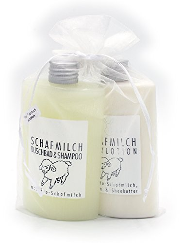 Geschenkset Schafmilch von Haslinger mit Duschbad & Shampoo und Bodylotion im Organzabeutel