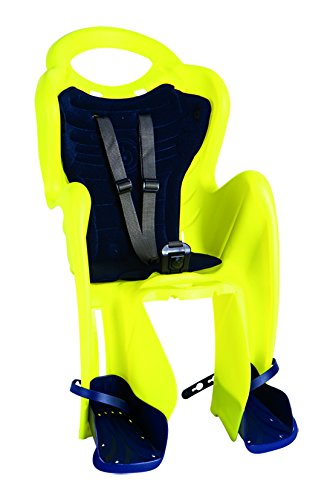 Bellelli Mr.Fox Standard, Fahrradsitz hinten für Kinder, Neongelb, Befestigung am Rahmen
