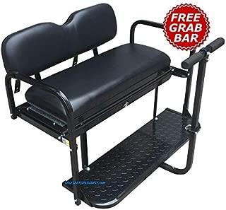 Yamaha G14 / G16 / G19 / G22 Golf Cart Rear Seat Kit - Black - Flip Seat w/Cargo Bed & Free Grab Bar