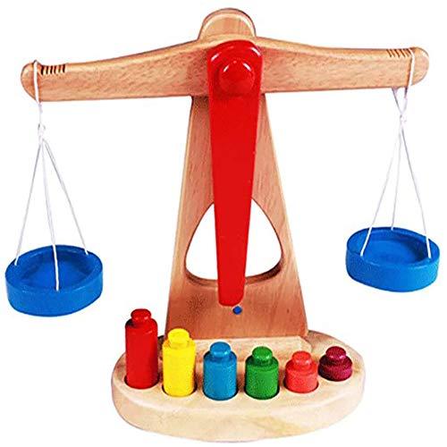 Moter Juguete de la Escala Equilibrio, Juguete de la Escala de los niños de Madera Equilibrio, con 6 Pesos, Muy Adecuado para los niños a Aprender y enseñar