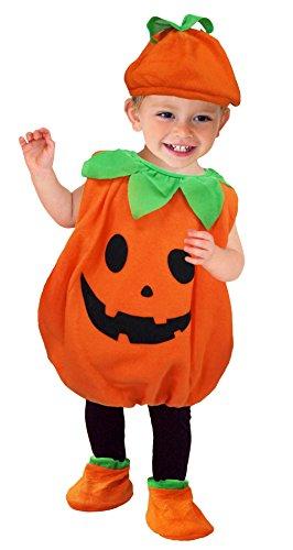 DEMU Baby Kürbis Kostüm Halloween Faschingskostüme Kleidung Jumpsuit mit Mütze (Small)