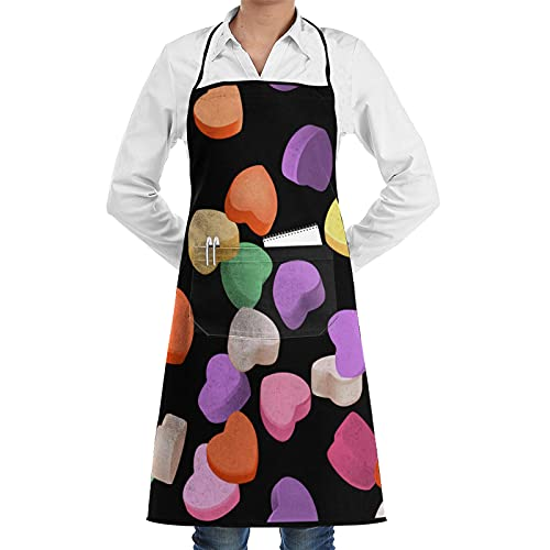 Cooking Kitchen Apron Orange Green Heart Valentines Day Conversation Passion Candy Celebrate Colourful Cute Design Waterproof Bib Adjustable Chef Aprons with Pockets for Women Men Black Apron for Rest