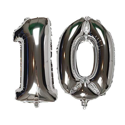 DIWULI, XXL-nummerballonnen, nummer 10, zilveren ballonnen, zilveren nummerballonnen, folieballonnen aantal jaren, folieballonnen 10e verjaardag, bruiloft, feest, decoratie, geschenkdecoratie