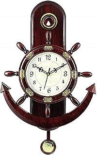 CraftEmporio Pendulam Analog Wall Clock for Home for Living Room Decorative Wall Clock 37 cm x 17 cm (Brown)