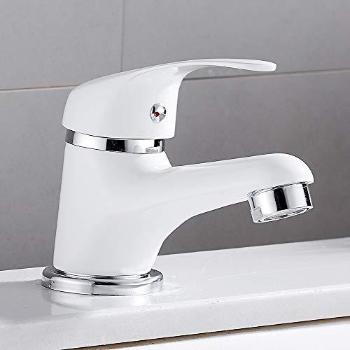 Witte badkamer kranen Basin Mixer Monobloc Taps messing komen met Pop-Up afval & warm en koude slang kraan