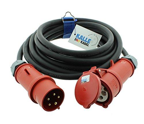 CEE-Verlängerungskabel Gummi H07RN-F 5G 6,0mm² 400V 32 A mit Phasenwender von KALLE DAS KABEL 5 Meter