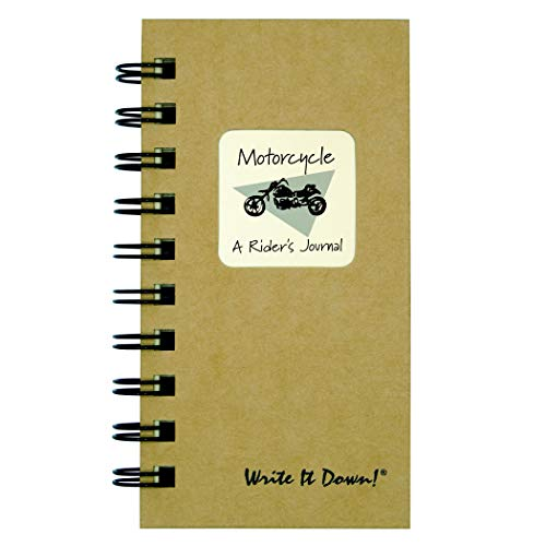 """Journals Unlimited """"Write it Down!"""" Series Guided Journal, Motorcycle, A Rider's Journal, Mini-Size 3�x5.5�, with a Kraft Hard Cover, Made of Recycled Materials"""