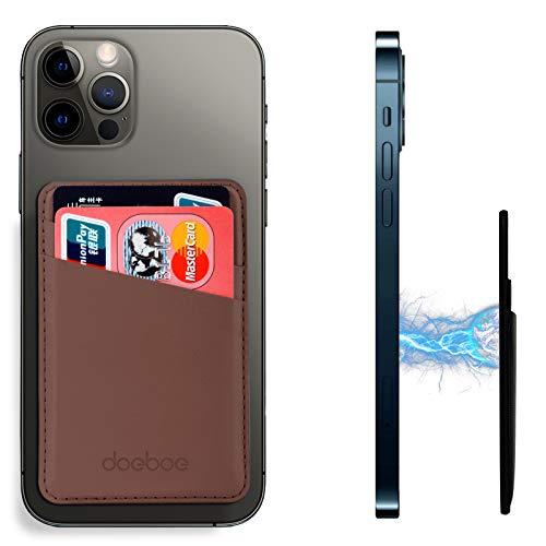doeboe Compatible con Magsafe Wallet iPhone 12 Pro MAX, Soporte de Tarjeta de Cuero para la Parte Posterior del iPhone 12, Carteras magnéticas de Tarjetas de crédito para iPhone 12 Mini Pro (Brown)