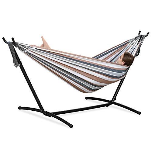 PNAEUT Double Hammock with Space Saving Steel Stand 2 Person Heavy Duty Outside Garden Yard Outdoor 450lb Capacity 2 People Standing Hammocks and Portable Carrying Bag (Coffee)