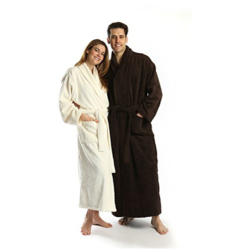 TurkishTowels Terry-Soft Shawl Bathrobe, 100% Combed Pure Turkish Cotton Terry Robe, Free Embroidery (S/M, Espresso)