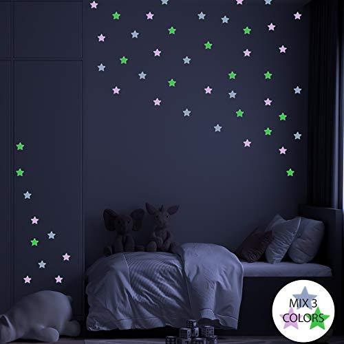 Pegatinas de pared BRILLAN EN LA OSCURIDAD ESTRELLAS 3D MIX COLOR. Vinilo decorativo Pegatinas cielo estrellado FLUORESCENTES. Estrellas luminosas 4.2cm Decoración Habitación, niño y niña