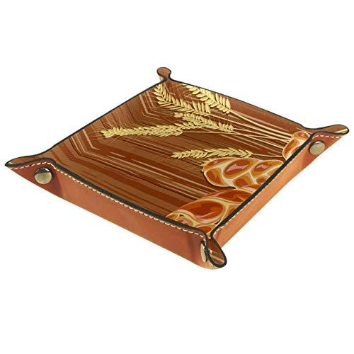 ZDL Caja de almacenamiento tradicional de pan Challah sobre fondo de madera, organizador para llaves, teléfono, monedas, relojes, etc. 20.5 x 20.5 cm
