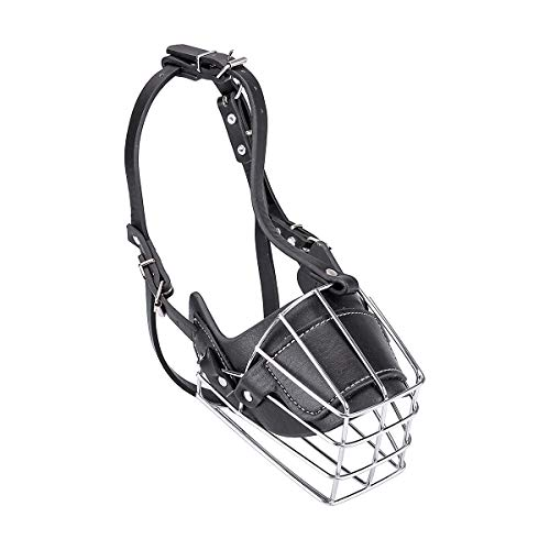 Wei Xi Dog Muzzle Medium/Large Dogs, Adjustable Metal Mask Anti-Bite Wire Leather Strong Basket Breathable Safety Protection Cover L