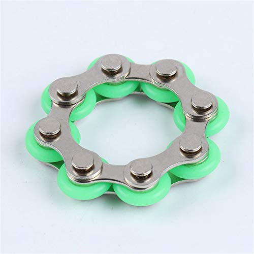 Eight Roller Chain Fidget Toy Bicycle Chain Stress Relief Toys Flippy Chain Stress Reducers Autism Stress and Anxiety Relief Toys Finger Toys Adults Kids (Green)