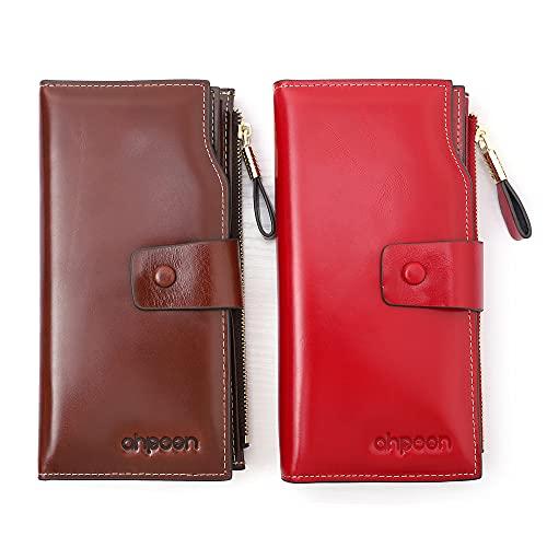 AHPOON Portafoglio Donna Grande Pelle RFID Portamonete Donna Borsa Clutch Portamonete in Pelle con 21 Scomparti Portafoglio Porta Carte di Credito (Rosso)