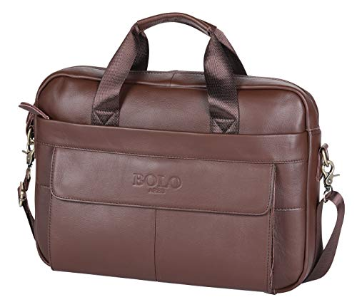 Review Of BOLO ARES Genuine Leather Handmade Briefcase Messenger Shoulder Business Office Bag Handba...