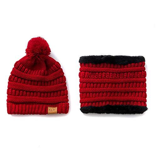 Viesky Adult Peuter Kids Winter Beanie Hoed Sjaal Set Knappe Kabel Knit Pompom Cap Dik Pluche Gevoerde Cirkel Loop Nek Warmer