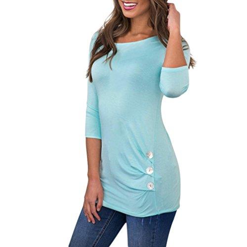 ESAILQ Damen T-Shirt Armelloses Top Frauen Verstellbare Schultergurte Runden Hals Leibchen Crop Top(S,Blau)