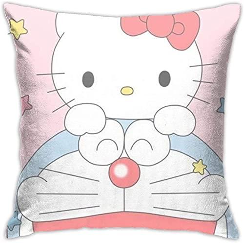 KINGAM Fundas de almohada decorativas suaves Doraemon rosa cuadrada, funda de cojín cómoda, funda de almohada de lujo para sofá, cama, silla, coche, decoración del hogar (45 x 45 cm)