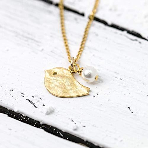 Zierliche Perlen-Kette gold mit Vogel, 925 Silber-Kettchen vergoldet, Vögelchen matt vergoldet, Muschelkern-Perle, handmade Geschenk für Sie