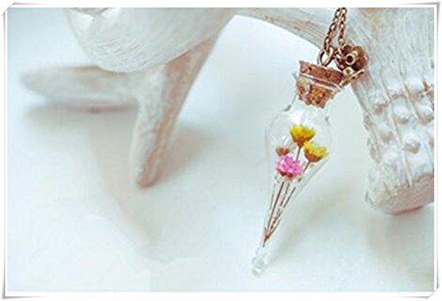 Ramo de flores botella necklace. lágrima Vial necklace. miniatura botella collar con flores secas