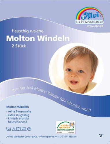 Alvi 93812 Molton-Windeln, 2 Stück, weiß