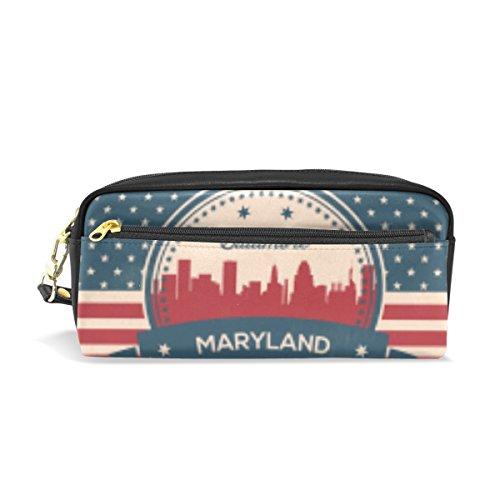 Federmäppchen/Stifteetui, Vintage-Motiv mit amerikanischer Flagge, Maryland State Baltimore Skyline, aus PU-Leder