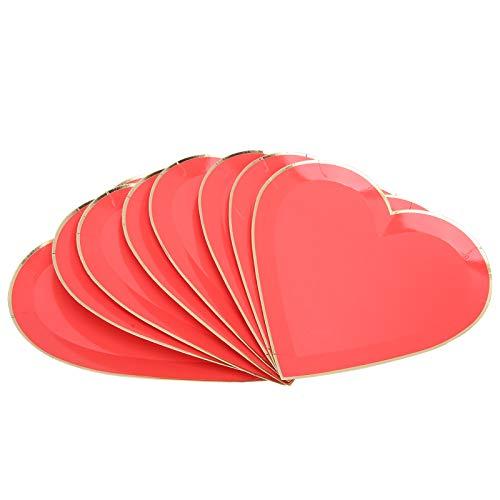 Les-Theresa 8Pcs Platos de papel Día de la madre Día de San Valentín Suministros para banquetes de boda Vajilla Decoración(rojo)