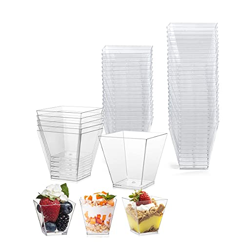 50 tazas de postre, reutilizables, de plástico de alta calidad, vasos de postre para mousse pudding helado Food postre Party