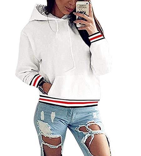 NR Hoodie Damen Oversize Rot Pullover Herbst Winter Kapuzenpullover Frauen Sweatshirt Jacke Weiß Large