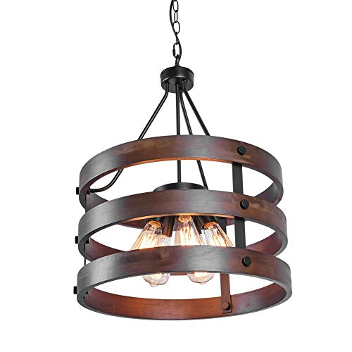 OYIPRO Vintage Industrial Wood Pendant Light, 5 Light Circular Wooden Cage Shade Chandelier Pendant Ceiling Hanging Light