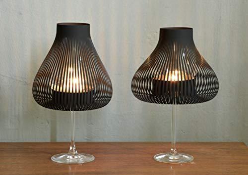 Lampenschirme für Weingläser mit Teelicht, Windlicht 2er Set schwarz MISS MOLLY