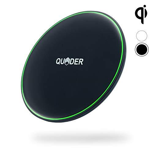 QUDER® Wireless Charger 10 Watt für Samsung - kleines QI Ladegerät fürs iPhone - induktive Ladestation fürs Büro in edlem schwarz - kabellos Laden