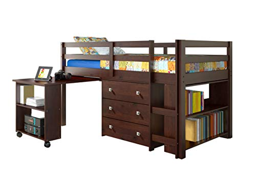 DONCO Kids Low Study Loft Bed, Dark Cappuccino